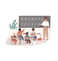 Young teacher with pointer at chalkboard vector