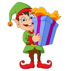 cartoon elf holding gift box vector image