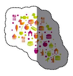 cloud color food blackground icon vector image