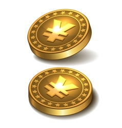 Gold coin with yen sign vector