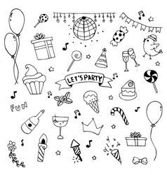 hand drawn doodle party set cerebrate decoration vector image