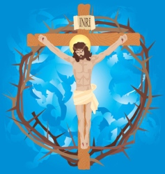 jesus nailed to the cross vector image vector image