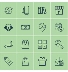 Set of 16 ecommerce icons includes shop present vector