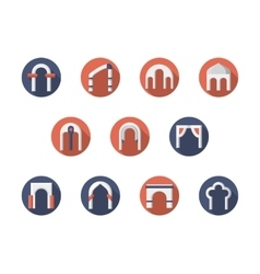 Arch constructions round flat icons set vector image