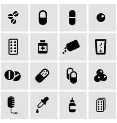 black pills icon set vector image vector image