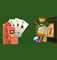 casino gambling horizontal banner cartoon style vector image