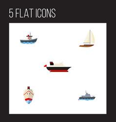 flat icon vessel set of transport cargo yacht vector image