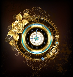 Gold Clock with Gold Rose vector image vector image