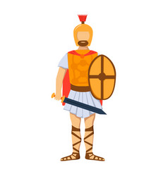 military roman soldier character weapon armor man vector image