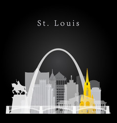 St louis white and yellow skyline vector