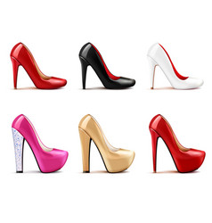 women shoes realistic set vector image vector image