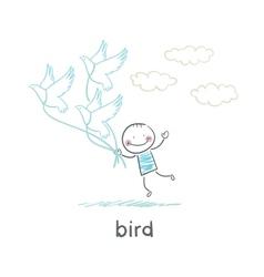 Bird and man vector