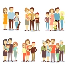 Families different types flat icons set vector image