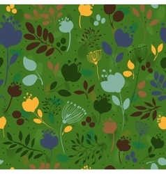 Graceful Flowers Green Seamless Pattern vector image vector image