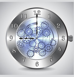 Metal mechanical clock with gears on grey vector