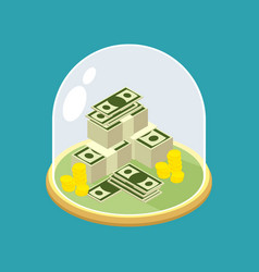 money under glass bell transparent dome for vector image