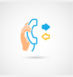 Phone colorful icon - hand with handset vector
