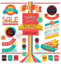 Set of sale labels and stickers in retro stile vector image vector image