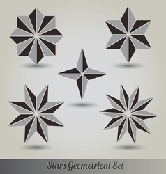 Set stars polyhedron for graphic design vector image vector image