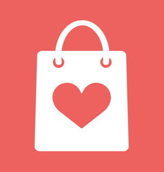 shopping bag with shape of the heart icon vector image vector image