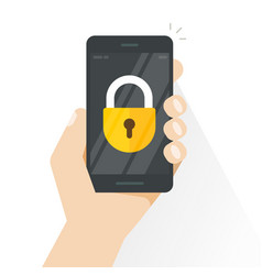 smartphone locked hand holding mobile vector image vector image