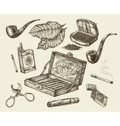 Tobacco collection smoking Hand-drawn vector image vector image