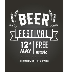 Beer festival black board event poster vector image vector image