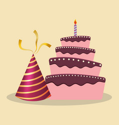 birthday cake hat decoration party vector image