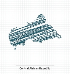 Doodle sketch of Central African Republic map vector image