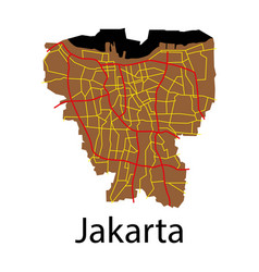 flat outline map of the indonesian capital jakarta vector image vector image
