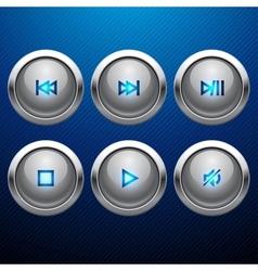Glossy multimedia control web icon set vector image vector image