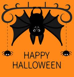 Hanging bat two spider dash line web happy vector