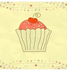 Retro Valentines Cupcake Card vector image vector image