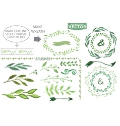 Watercolor brushes and wreath setvintage floral vector