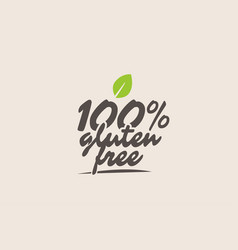 100 gluten free word or text with green leaf vector image