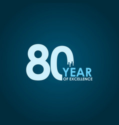 80 year excellence template design vector image