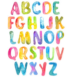 abc alphabet watercolor letters over white vector image