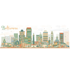 abstract baltimore skyline with color buildings vector image