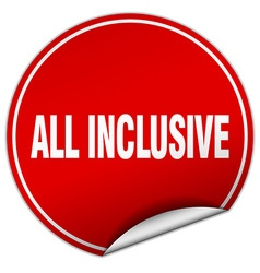 All inclusive round red sticker isolated on white vector
