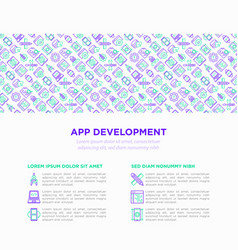 app development concept with thin line icons vector image