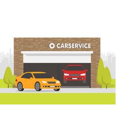 Automobile repair shop garage the car vector