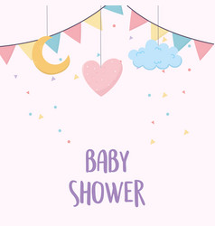 Bashower heart cloud moon flags card cartoon vector