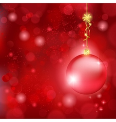 Beautiful red Christmas background with bauble and vector image