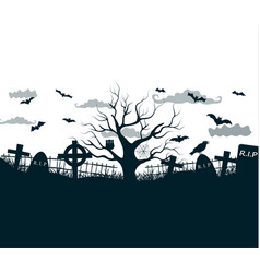 black and white halloween night background poster vector image