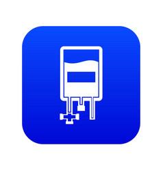 blood donation bag icon digital blue vector image