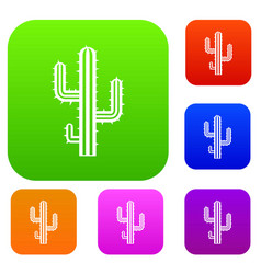 cactus set color collection vector image