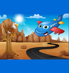 cartoon happy airplane with eagle on tree and empt vector image