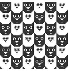 Cat and owl seamless geometric pattern vector
