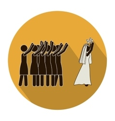 Circular shape pictogram of wife throwing a vector