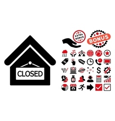 Closed Office Flat Icon with Bonus vector image vector image